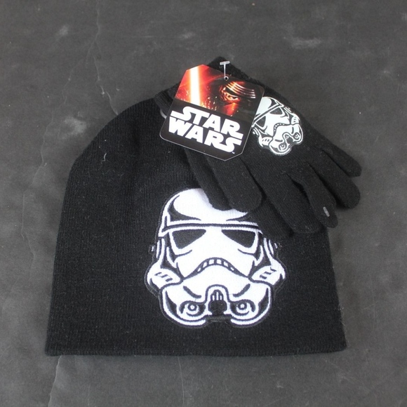 Star Wars boys Storm Trooper hat gloves set nwt 9f55cd209017